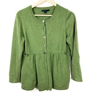 Boden Cashmere Cardigan Sweater Green 12